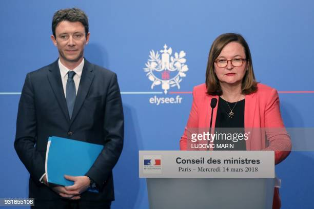 French Minister attached to the Foreign Affairs Minister Nathalie Loiseau speaks as French Government's Spokesperson Benjamin Griveaux stands during...
