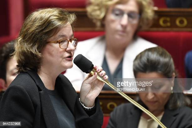French Minister attached to the Foreign Affairs Minister Nathalie Loiseau speaks during a session of questions to the government at the National...
