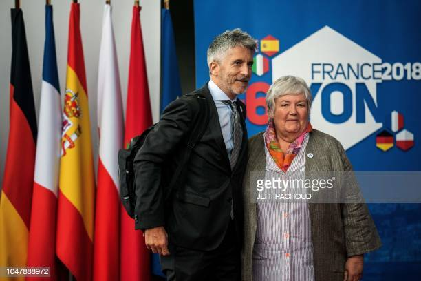 French Minister attached to the Interior Minister Jacqueline Gourault welcomes Spains Interior minister Fernando GrandeMarlaska in Groupama Stadium...