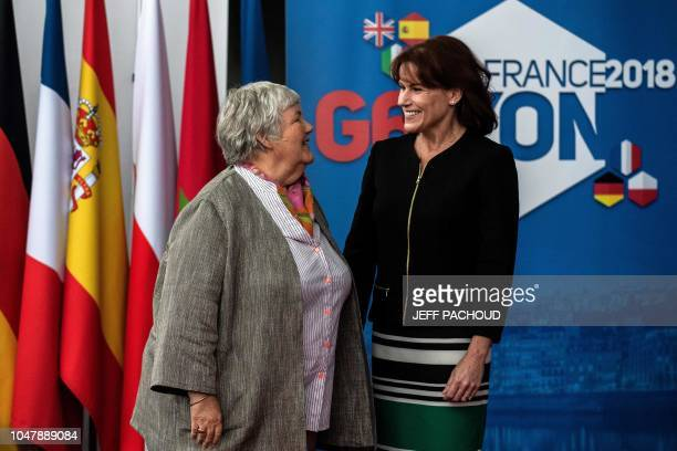 French Minister attached to the Interior Minister Jacqueline Gourault welcomes US Deputy Secretary for Homeland Security Claire M Grady in Groupama...