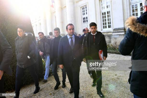 French Minister attached to the Minister of Ecological and Inclusive Transition Sebastien Lecornu leaves after a meeting with a delegation of...