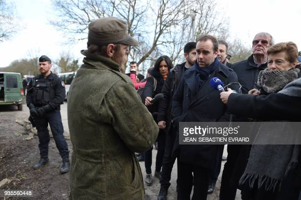 French minister attached to the minister of Ecological and Inclusive Transition Sebastien Lecornu meets with activists as he visits on March 21 2018...
