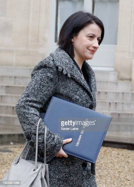 French Minister Cecile Duflot departs the French Cabinet Meeting at Elysee Palace on January 30 2013 in Paris France