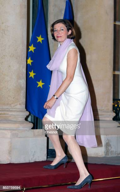French Minister defence minister Florence Parly arrives for a state dinner with Lebanese President Michel Aoun and French President Emmanuel Macron...