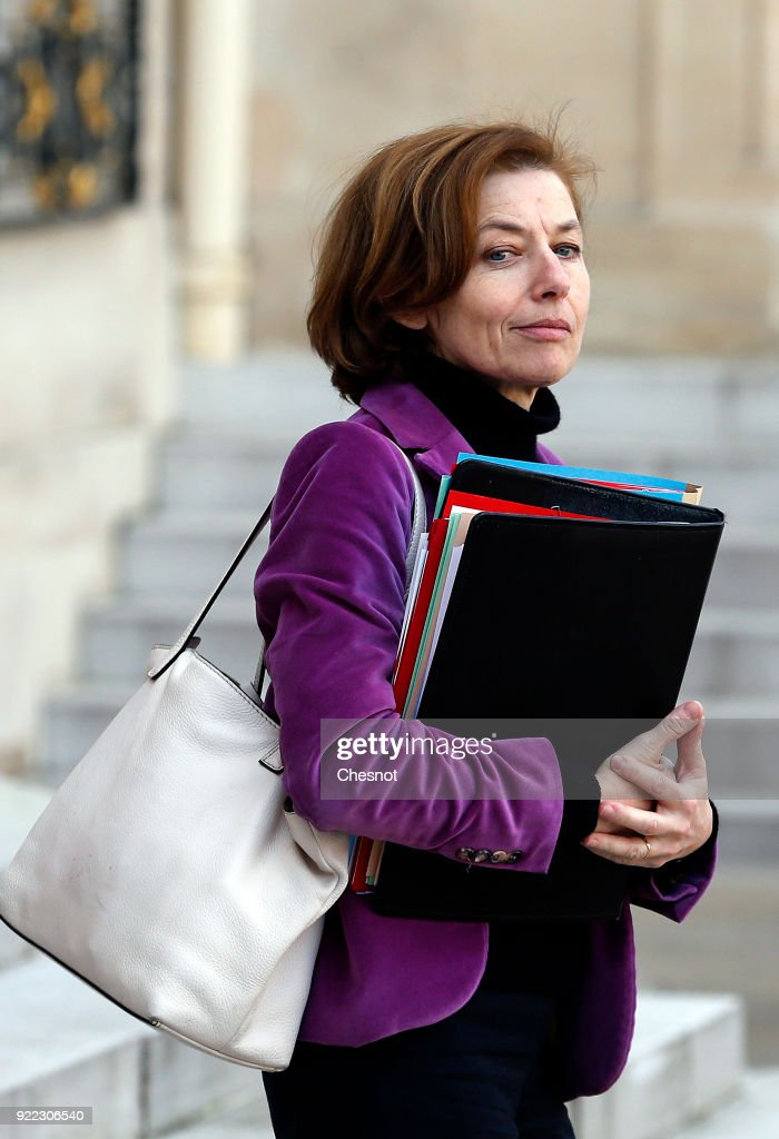 French Minister defence minister Florence Parly leaves the Elysee Presidential Palace after a weekly cabinet meeting on February 21, 2018 in Paris, France. Two French soldiers were killed today in Mali during an operation of the French army.