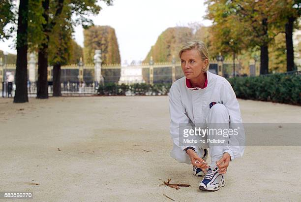 French Minister Elisabeth Guigou Jogging in the Park
