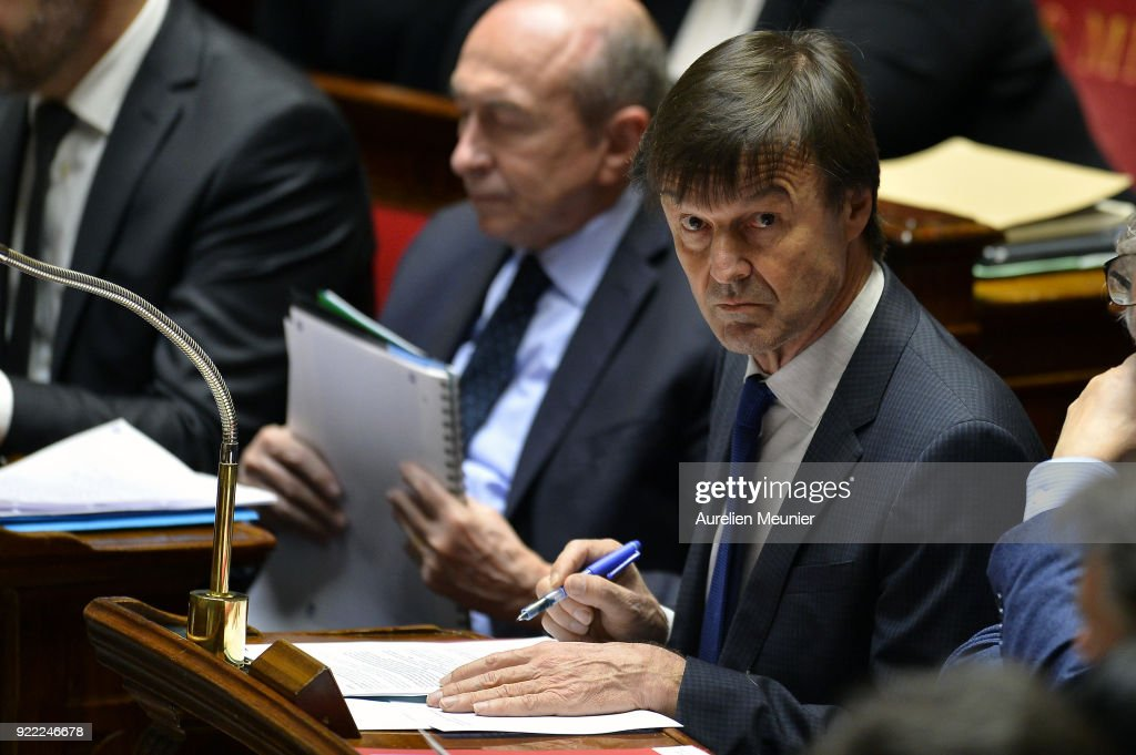 French Minister Eof Ecology Nicolas Hulot reacts as Ministers answer deputies questions during a session of questions to the government at Assemblee Nationale on February 21, 2018 in Paris, France.