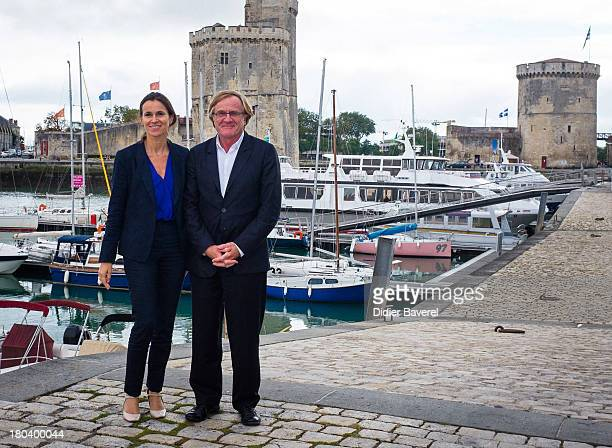 French Minister for Culture and Communication Aurelie Filippetti meets chairman of 15th Festival of The TV Fiction Quentin Raspail on September 12...