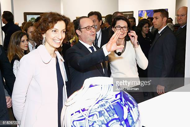 French Minister for Culture Audrey Azoulay and French President Francois Hollande inaugurate the 'Art Paris Art Fair 2016' at Grand Palais on March...