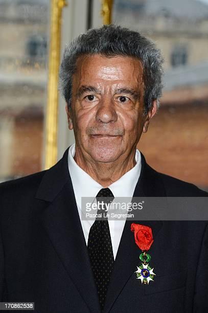 French Minister for Culture Aurelie Filippetti confers an Honorary of Officier de l'Ordre de la Legion d'Honneur to Maurice Benichou at Ministere de...