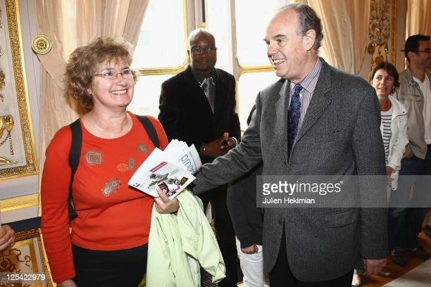 French Minister for Culture Frederic Mitterrand welcomes visitors as part of Les Journees du Patrimoine at Ministere de la Culture on September 17...