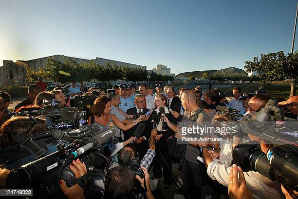 French Minister for Ecology Nathalie KosciuskoMorizet speaks to members of the press at the Marcoule Nuclear Plant on September 12 2011 in Marcoules...