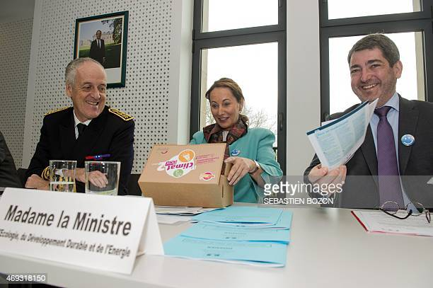 """French minister for Ecology, Sustainable Development and Energy Segolene Royal discovers the """"Climat Box"""" offered by mayor of Mulhouse Jean Rottner..."""
