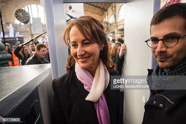 French minister for Ecology Sustainable Development and Energy Segolene Royal arrives to the Gare Du Nord's railway platform in Paris before a press...