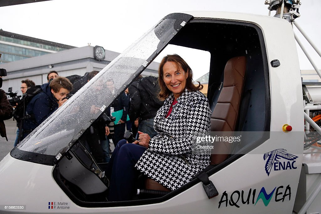 Segolene Royal, French Minister of Ecology Unveils VOLTA, Electric Helicopter At Issy-les-Moulineaux
