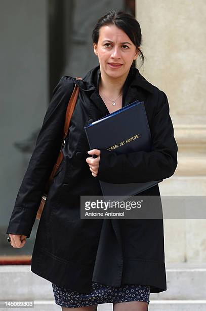 French Minister for Equality of Territories and Housing Cecile Duflot leaves the weekly cabinet meeting at Elysee Palace on May 23 2012 in Paris...