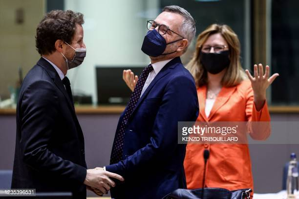French minister for European affairs Clement Beaune speaks German Minister of State for European Affairs Michael Roth during a General Affairs...