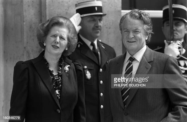 French minister for European Affairs Roland Dumas meets with British Prime Minister Margaret Thatcher on May 04 1984 at the Elysee Palace in Paris...