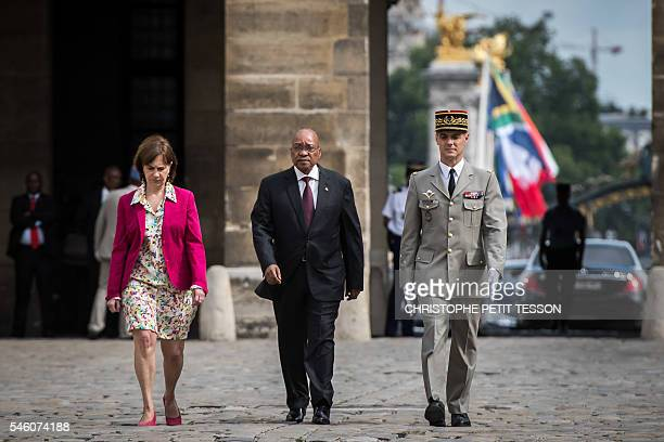 French Minister for Family Children and Women's Rights Laurence Rossignol South African President Jacob Zuma and The Military Governor of Paris Bruno...