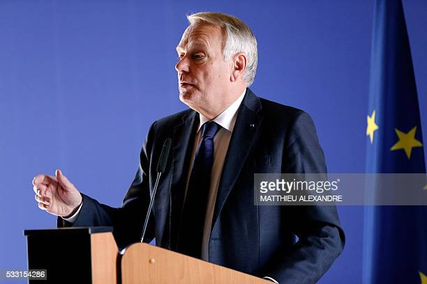 French Minister for Foreign Affairs JeanMarc Ayrault speaks during a press conference on May 21 2016 in Paris following a meeting with relatives of...