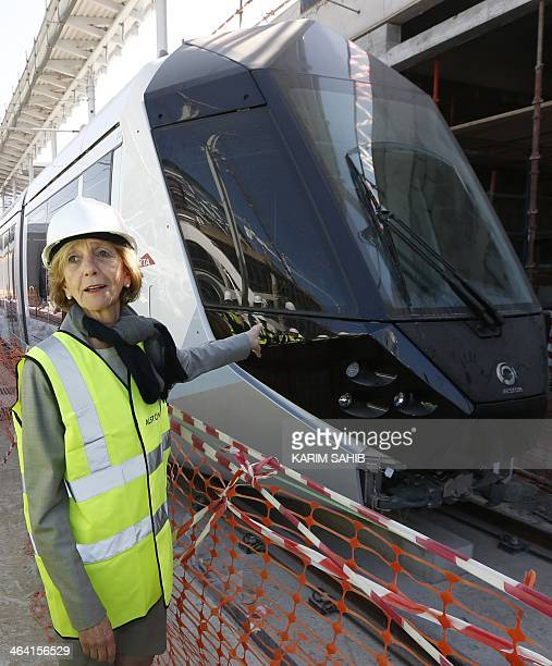 French Minister for Foreign Trade Nicole Bricq visits the first tram delivered by the French company Alstom to the Dubai tramway project on January...