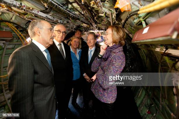 French Minister for Foreign Trade, Nicole Bricq with ceo ATR Filippo Bagnato , visits ATR's Final Assembly Line in Toulouse on February 22,...
