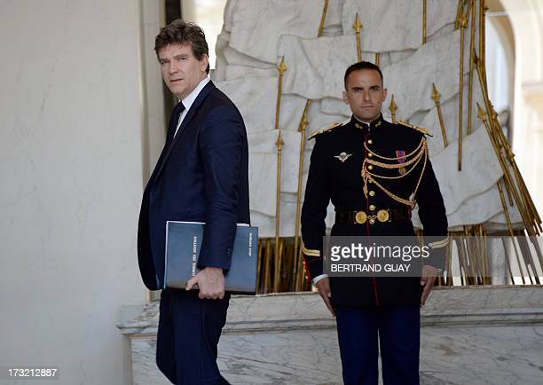 French Minister for Industrial Renewal and Food Industry Arnaud Montebourg leaves at the end of the weekly cabinet meeting at the Elysee Presidential...