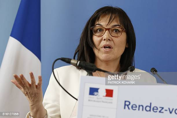 French minister for Public service Annick Girardin gives a press conference following her meeting with union representatives calling for wage...