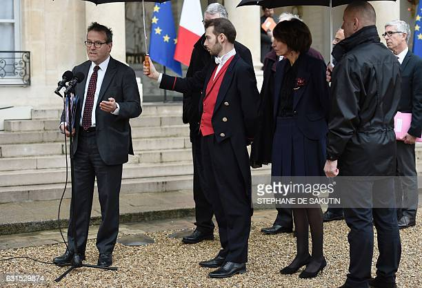 French Minister for Social Affairs and Health Marisol Touraine looks on as director of Paris' public assistance hospitals APHP Martin Hirsch speak to...