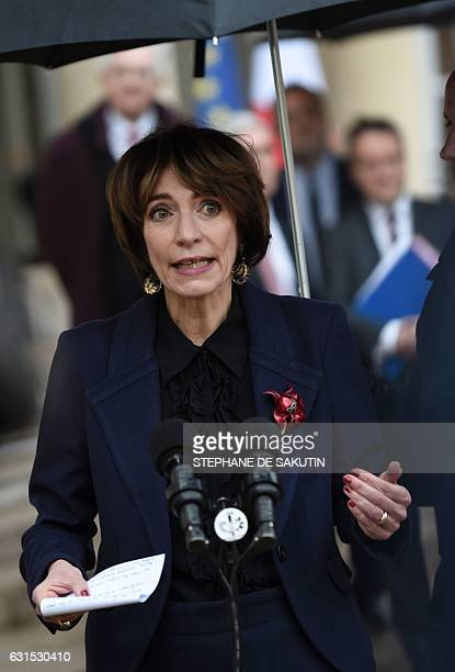 French Minister for Social Affairs and Health Marisol Touraine speaks to journalists following a meeting with French President Francois Hollande on...