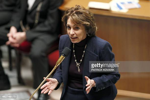 French minister for Social Affairs Health and Women's Rights Marisol Touraine speaks during a session of questions to the government on February 4 at...