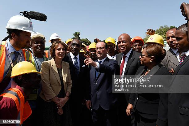 French minister for Social Affairs Health and Women's Rights Marisol Touraine French President Francois Hollande and Haitian President Michel...