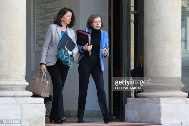 French Minister for Solidarity and Health Agnes Buzyn and French Defence Minister Florence Parly leave after the weekly Cabinet meeting on March 21...