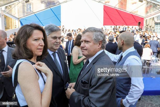 French Minister for Solidarity and Health Agnes Buzyn and the sons of late French politician and Holocaust survivor Simone Veil PierreFrancois and...