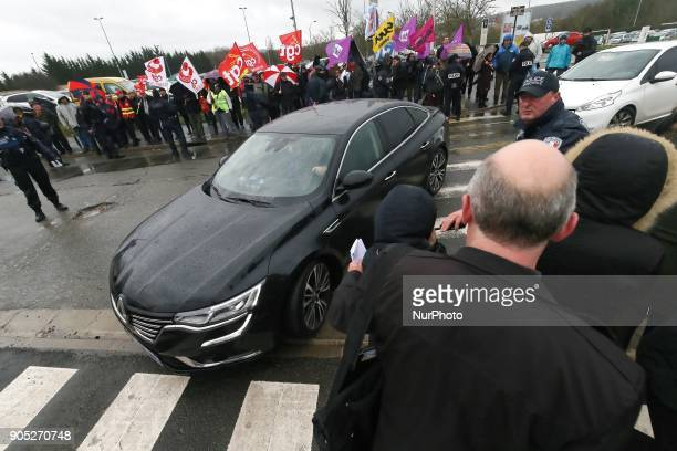 French Minister for Solidarity and Health Agnes Buzyn arrives at the Poissy Medical Center near Paris on January 15 2018 for the laying of the first...
