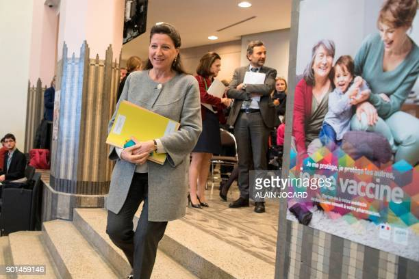French Minister for Solidarity and Health Agnes Buzyn arrives for a press conference on the extension of compulsory vaccination for children on...