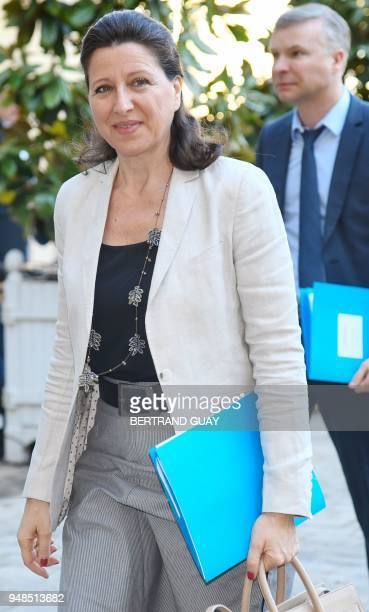 French Minister for Solidarity and Health Agnes Buzyn arrives on April 19 2018 at the Hotel Matigon French Prime minister official residence in Paris...