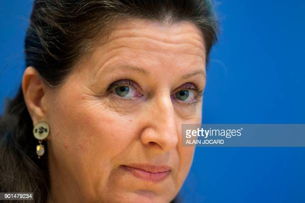 French Minister for Solidarity and Health Agnes Buzyn ponders during a press conference on the extension of compulsory vaccination for children on...