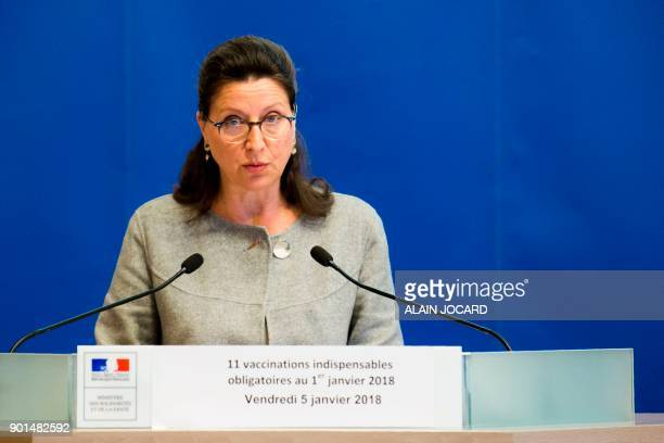 French Minister for Solidarity and Health Agnes Buzyn speaks during a press conference on the extension of compulsory vaccination for children on...