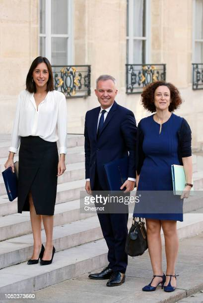 French Minister for the Ecological and Inclusive Transition Francois de Rugy flanked by deputy minister in charge of Ecology Transition Brune Poirson...