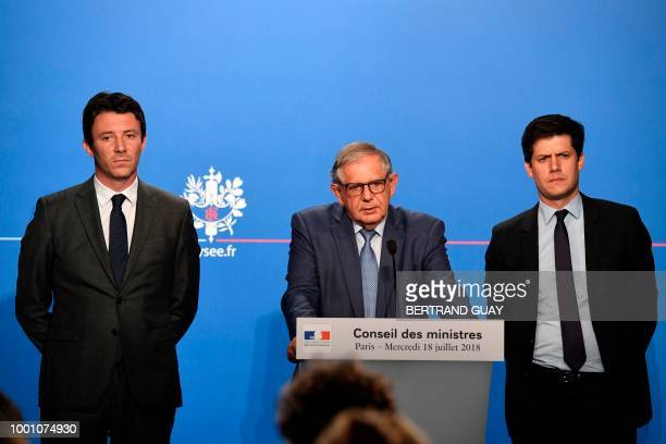 French Minister for the Territorial Cohesion Jacques Mezard flanked by and French government spokesman Benjamin Griveaux French Junior Minister for...
