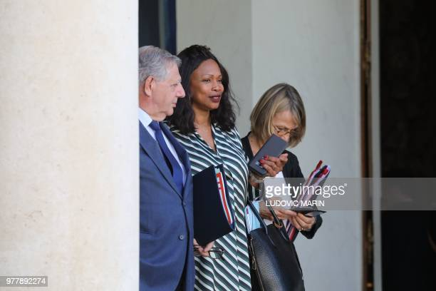 French Minister for the Territorial Cohesion Jacques Mézard French Sports Minister Laura Flessel and French Culture Minister Francoise Nyssen leave...