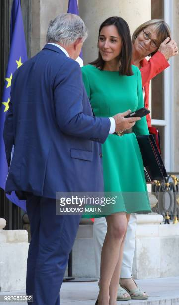 French Minister for the Territorial Cohesion Jacques Mézard speaks with French Culture Minister Francoise Nyssen and French Minister attached to the...
