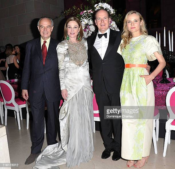 French Minister Frederic Mitterrand Becca Cason Thrash Prince Albert of Monaco and Actress Diane Kruger attend the 'Liaisons Au Louvre II' Charity...