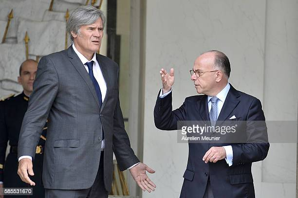 French Minister of Agriculture and Forestry Gouvernment Spokesman Stephane Le Foll and French Minister of Interior Bernard Cazeneuve speak as they...