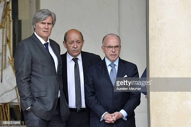 French Minister of Agriculture and Forestry Gouvernment Spokesman Stephane Le Foll French Minister of Defence JeanYves Le Drian and French Minister...