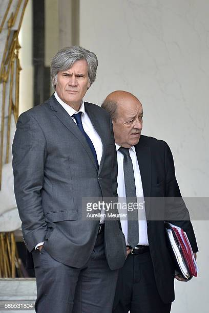French Minister of Agriculture and Forestry Gouvernment Spokesman Stephane Le Foll and French Minister of Defence JeanYves Le Drian speak as they...