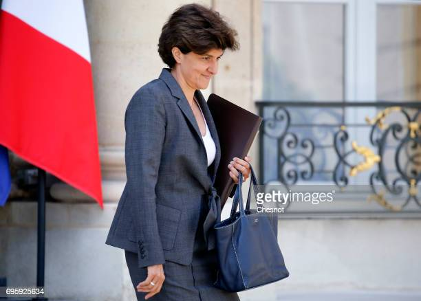 French Minister of Armed Forces Sylvie Goulard leaves the Elysee Presidential Palace after a weekly cabinet meeting on June 14 2017 in Paris France...