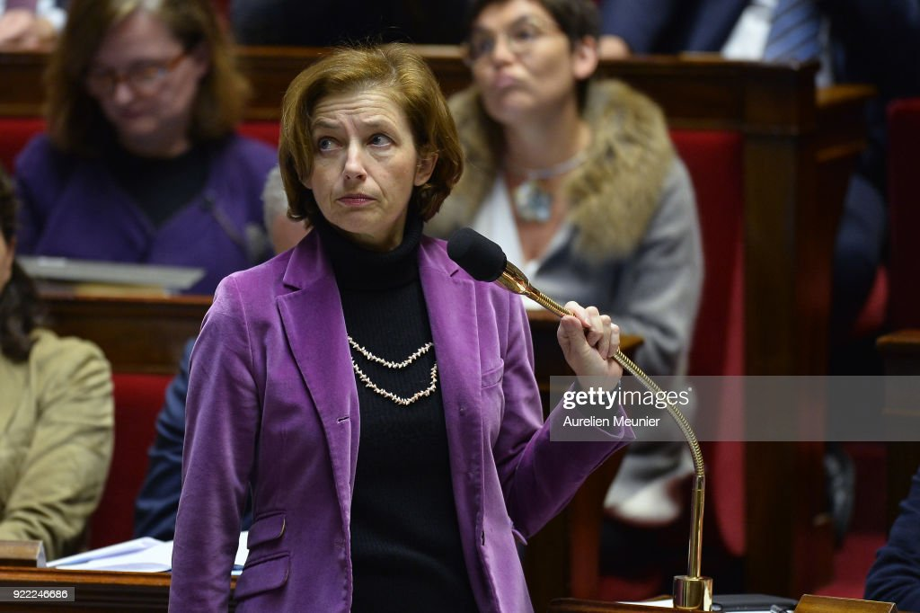 French Minister of Army Florence Parly reacts as she answer deputies questions during a session of questions to the government at Assemblee Nationale on February 21, 2018 in Paris, France.