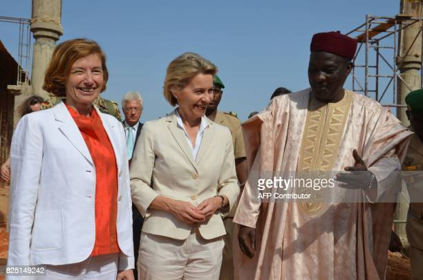 French Minister of Army Forces Florence Parly and German defence Minister Ursula von der Leyen meets Niger's defence Minister Kalla Moutari during a...